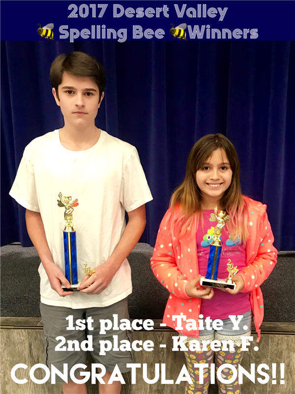 Desert Valley Spelling Bee Winners!!